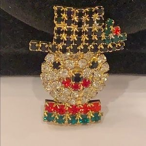 💐5/35 Snowman top hat pronged crystal Christmas